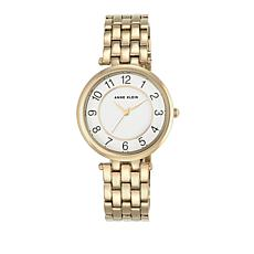 Anne Klein Goldtone Glossy White Dial Dress Bracelet Watch