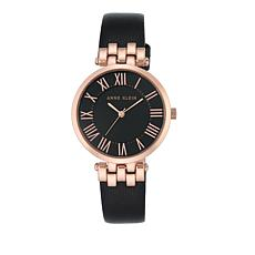 Anne Klein  Round Dial Black Leather Strap Watch