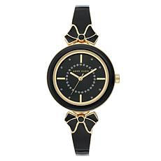 Anne Klein Women's Black Glitter Semi-Bangle Bracelet Bow Watch