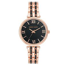 Anne Klein Women's Rosetone and Black Bracelet Watch