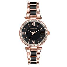 Anne Klein Women's Rosetone and Black Crystal Bezel Bracelet Watch