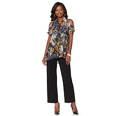 "Antthony ""Casual Breeze"" Cold-Shoulder Blouse, Tank and Pant 3pc Set"