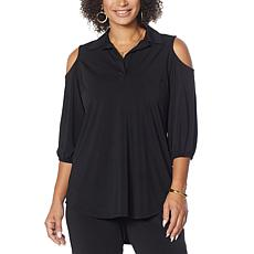 Antthony Cold-Shoulder Balloon-Sleeve Top