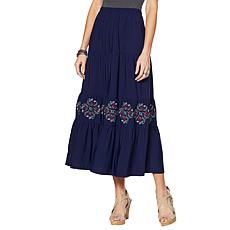 """Antthony """"Elda Collection"""" Embroidered Tiered Maxi Skirt"""