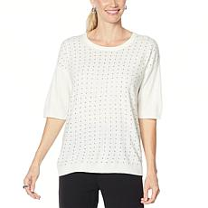 Antthony Extended Shoulder Sweater with Rhinestones