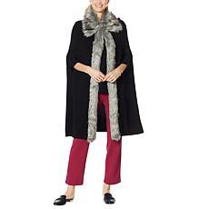 Antthony Faux Fur Trim Sweater Knit Cape