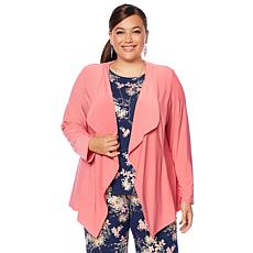 "Antthony ""Metallic Flower"" Draped Jacket and Printed Top Set"