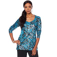 "Antthony ""Metallic Flower"" Printed Long-Sleeve Top"