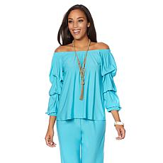 "Antthony ""On the Edge"" Ruffled Sleeve Off-the-Shoulder Top"