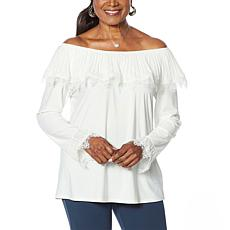 Antthony Pleated Ruffle Long-Sleeve Top