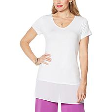 Antthony Short-Sleeve Mixed Media Tunic