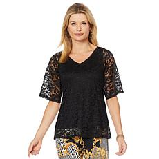 """Antthony """"Silver Jubilee"""" Lace Overlay Top"""