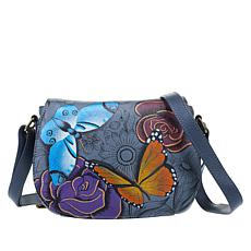 Anuschka Hand-Painted Leather Flap-Front Crossbody