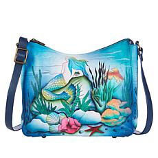 Anuschka Hand-Painted Leather Hobo Shoulder Bag with Accessories
