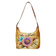 Anuschka Hand-Painted Leather Hobo with Matching Pouch