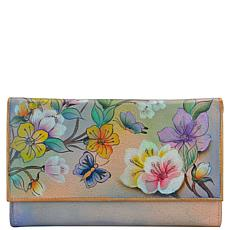 Anuschka Hand Painted Leather Multipocket Clutch Wallet