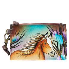 Anuschka Hand Painted Leather Organizer Wallet & Wristlet Strap
