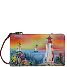 Anuschka Hand Painted Leather Organizer Wallet Crossbody