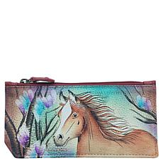 Anuschka Hand Painted Leather RFID Blocking Card Case with Coin Pouch