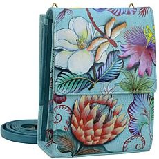 Anuschka Hand-Painted Leather Triple Compartment Crossbody Organizer