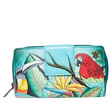 Anuschka Hand-Painted Leather Zip-Around Clutch Wallet