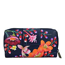 Anuschka Hand Painted Leather Zip Around Clutch Wallet