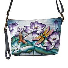 Anuschka Handpainted Leather Convertible Wristlet with Crossbody Strap