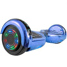 AOB Hoverboard with Bluetooth Speakers - Blue Chrome