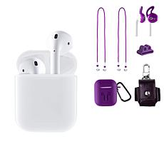 Apple AirPods 2nd Gen. Earbuds w/Leather Case & Silicone Accessories