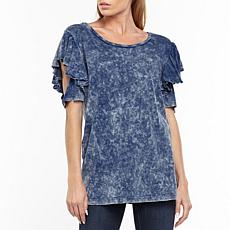 Aratta Kelsey Ruffle Sleeve T-Shirt - Denim Wash