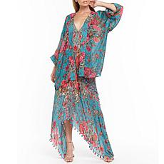 Aratta Phillipa Kimono - Teal Blue Floral