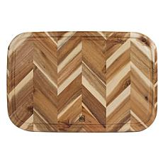 Architec Madeira Herringbone Cutting Board with Groove - 13 x 19- Teak