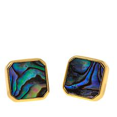 Argento Vivo Square Abalone Stud Earrings