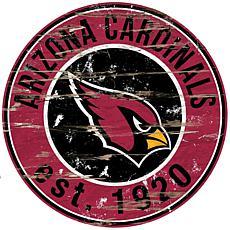 Arizona Cardinals Round Distressed Sign