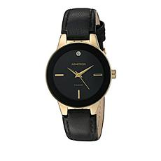 Armitron Men's Goldtone and Black Leather Strap Watch