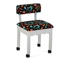 Arrow Sewing Chair with Seat Storage - White/Black