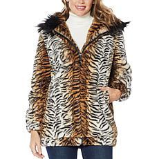 """""""As Is"""" Adrienne Landau Blouson Faux Fur Coat with Hood"""