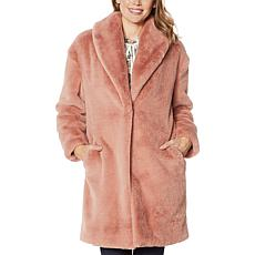"""As Is"" Adrienne Landau Faux Mink Shawl Collar Coat"