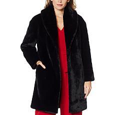 """""""As Is"""" Adrienne Landau Faux Mink Shawl Collar Coat"""