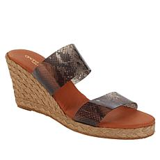 """""""As Is"""" André Assous Anfisa 2-Band Vinyl Design Wedge Sandal"""