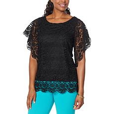 """As Is"" Antthony Bateau-Neck Flutter-Sleeve Crochet Top"