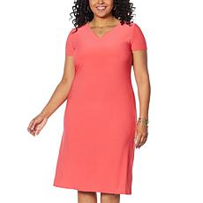 """""""As Is"""" Antthony Double V-Neck Solid Midi Dress"""