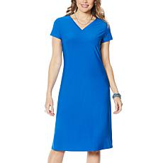 """As Is"" Antthony Double V-Neck Solid Midi Dress"