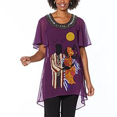 """As Is"" Antthony Holiday Luxe Lady Print Hi-Low Tunic"