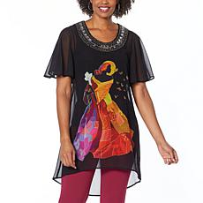 """""""As Is"""" Antthony Holiday Luxe Lady Print Hi-Low Tunic"""
