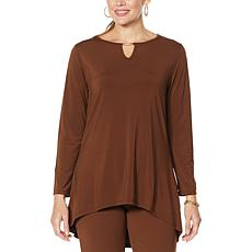 """As Is"" Antthony Keyhole Neck Hi-Low Hem Top"