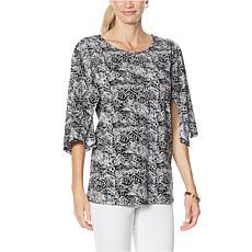 """""""As Is"""" Antthony Kimono-Sleeve Batik Print Top"""