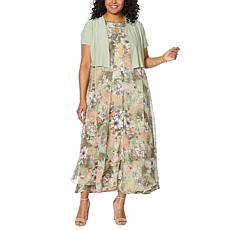 """""""As Is"""" Antthony """"Natural Flow"""" Printed Maxi Dress and Solid Bolero"""
