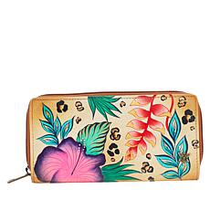 """As Is"" Anuschka Hand-Painted Clutch Wallet with RFID Protection"