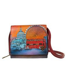 """""""As Is"""" Anuschka Hand-Painted Leather 2-Fold Mini Organizer Wallet"""